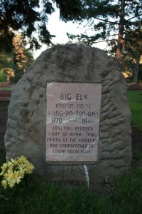 The grave marker of Chief Big Elk at the Bellevue Cemetery,