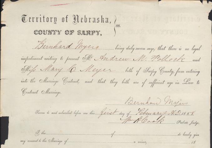A Portion of the Marriage Record of Andrew Pollock and Mary Meyer.